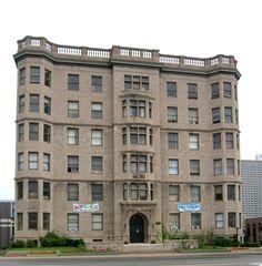 Palms Apartments, East Jefferson Avenue, designed by George D. mason and albert Kahn, 1903.