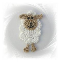 gehäkeltes Schaf , Häkelapplikation, Applikation Schaf, crochet applique sheep, Lämmchen, Schäfchen