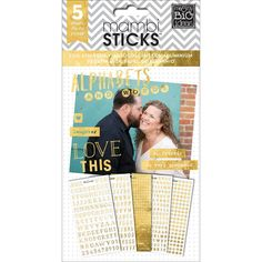 Me & My Big Ideas Pocket Pages Foil Stickers - Alpha and Words/Gold