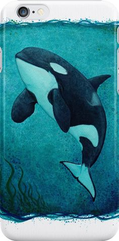 """Iphone Case • """"The Matriarch"""" Watercolor art of southern resident killer whale / orca J2 """"Granny"""" by wildlife artist Amber Marine. ••• AmberMarineArt.com © •••"""