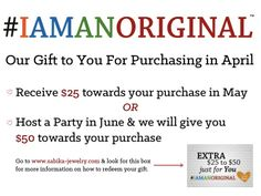 Receive gifts all month long for purchasing Sabika in April! #IAMANORIGINAL