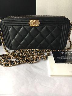 1b0902ee554e Auth BNIB Chanel Boy WOC Double Zip Black Lambskin Wallet On A Chain Bag  2017 $1950.0