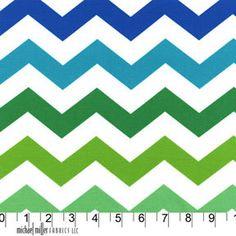 Blue Green and Aqua Chevron Cotton From Michael Millers Chevron Chic, 1 Yard. $8.45, via Etsy.