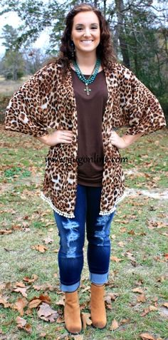Life of the Party Leopard Pom Pom Kimono-NOW IN KIDS SIZES! Save 10% by using promo code GUGREPBRITT at checkout! www.gugonline.com