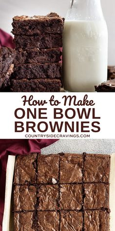 This is the easiest one bowl brownie recipe you will find. They are dense, fudgy, rich, and gooey. This homemade brownie recipe will be your new go to!