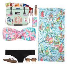 """Contest day 5// day on the beach"" by pandapeeper ❤ liked on Polyvore featuring Lilly Pulitzer, J.Crew, Kate Spade, Rainbow, S'well, Maybelline and lucysbeachcontest"