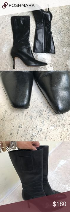 Jimmy Choo He's black boots are in pretty good condition but with slight wear on the toe, shown in pictures, size 39 but fit more like an 8 1/2 Jimmy Choo Shoes Heeled Boots
