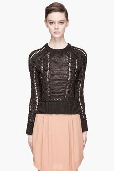 SEE BY CHLOE Black and bronze Crewneck Cable Knit Sweater