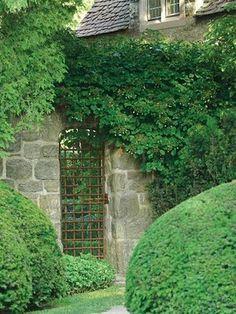 iron gate + stone wall + luscious vine