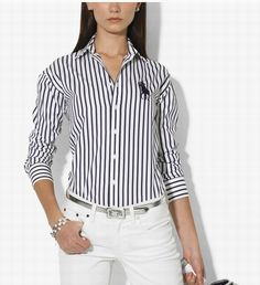 Cheaps Ralph Lauren Women\u0026#39;s Cotton Stripe Shirt in Navy/White