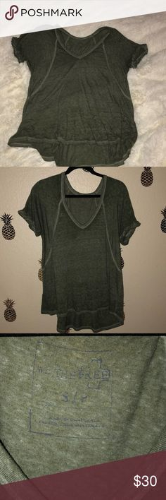 Free People Boyfriend Tee Free People Green Boyfriend Tee Like New worn very few times. Not exact pic on top but it shows how this shirt fits. Exact same just without seams going down sides. Free People Tops Tees - Short Sleeve