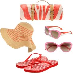 7. Must Have Beach Accessories: (Made with Polyvore) Diane Von Furstenberg Flip-Flops, Kate Spade Sunglasses, Floppy Sun Hat, Zebra Towel with Leather Holster! @Sunglass Warehouse #SWspringbreak