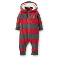 1-Piece Hooded Microfleece Jumpsuit | Carter's | Red and grey stripe