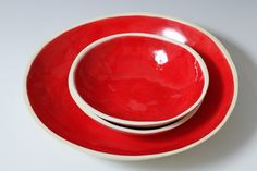 Small Bright Red and White Ceramic Bread Bowl 6 by VitreousWares. , via Etsy.