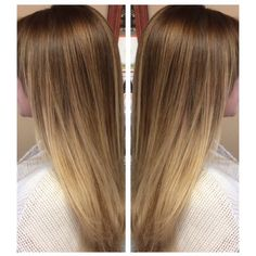 Butter blonde balayage ombre! Kept her natural light brown base and hand painted highlights for a melted look with light blonde ombré ends!