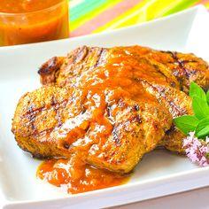 Curry Pork Chops with Easy Plum Chutney. Definitely not boring chops! Curry Pork Chops, Plum Chutney, A Food, Good Food, Rock Recipes, Pork Ham, Food Dishes, Main Dishes, Tandoori Chicken