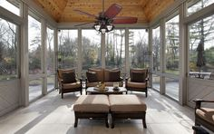 Outdoor Screen Room, Outdoor Ceiling Fans, Sunroom Furniture, Outdoor Furniture Sets, Sunroom Dining, Small Sitting Areas, Multi Luminaire, Types Of Wood Flooring, Modern Porch