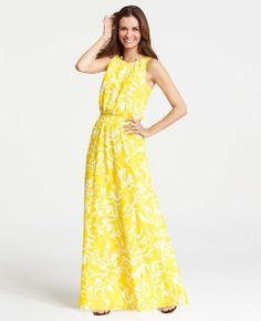 Summer Scroll Print Sleeveless Maxi Dress - Ann Taylor