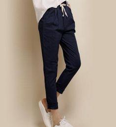 Summer Style 2016 Fashion Linen Nine Elastic Waist Pants Fluid Trousers Thin Linen Pants Skinny Pants Harem Pants Plus Size Harem Pants, Trousers, Linen Pants Women, New Fashion, Womens Fashion, Androgynous Fashion, Elastic Waist Pants, Skinny, Casual Pants