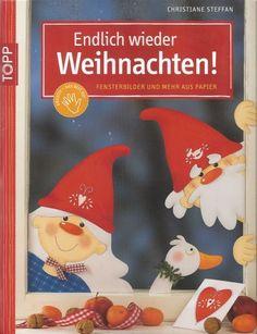 Endlich wieder Weihnachten! Fensterbilder und mehr aus Papier Book Crafts, Paper Crafts, Fruit Crafts, Magazine Crafts, Magazines For Kids, Painted Books, Reno, Classroom Decor, Crafts For Kids