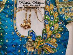 Aari Embroidery classes by Prabhas Designs Peacock Blouse Designs, Peacock Embroidery Designs, Cutwork Blouse Designs, Patch Work Blouse Designs, Best Blouse Designs, Pattu Saree Blouse Designs, Hand Work Blouse Design, Stylish Blouse Design, Bridal Blouse Designs