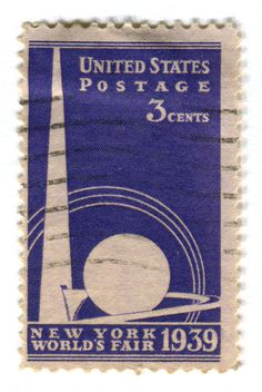 United States Postage Stamp: World's Fair c. 1939/40  depicting the Trylon and Perisphere from 1939 The New York World's Fair