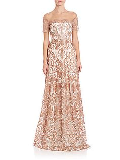 Marchesa Notte Embroidered Off-the-Shoulder Gown
