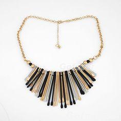$6.99 Gold Tone Earpicks Bib Chain Necklace at Online Jewelry Store Gofavor