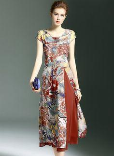 Cotton Silk Floral Short Sleeve Mid-Calf Vintage Dresses (1012957) @ floryday.com
