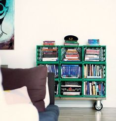 Fun ideas for DIY upcycled milk crate furniture and home decor made from repurposed milk crates. Milk Crate Bench, Milk Crate Shelves, Milk Crate Furniture, Milk Crate Storage, Custom Furniture, Storage Crates, Tv Storage, Record Storage, Plastic Milk Crates