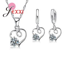 JEXXI Fashion Silver Jewerly Set For Women 925 Sterling Heart Wedding Necklace Earrings Pendants Bridal Jewelry Sets-in Jewelry Sets from Jewelry & Accessories on Aliexpress.com | Alibaba Group