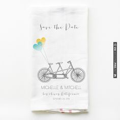 Bike & Balloons save the date towels! On sale for $75.00 :) Customize your balloon colors ♥ | CHECK OUT MORE IDEAS AT WEDDINGPINS.NET | #weddings #weddinggear #weddingshopping #shopping