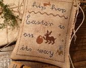 Easter Primitive Cross Stitch E-Pattern PDF- EASTER is On Its Way -by The Blue Attic