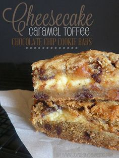 Cheesecake Caramel Toffee Chocolate Chip Cookie Bars.  The best of two worlds ... cookies and cheesecake!
