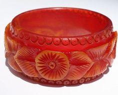 "Chunky BAKELITE Orange Marble Carved Bracelet 1 3/8"" wide Simichrome Tested #Bangle"