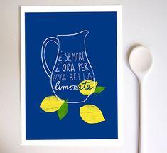 "Italian Kitchen Art Print Lemonade 11""x15"" - italy print summer blue lemon illustration - archival fine art giclée print"