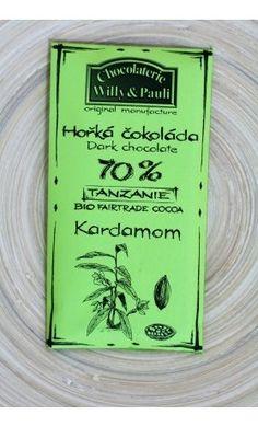 Chocolaterie Willy a Pauli BIO Hořká čokoláda Tanzanie 70% s kardamonem. Využijte výdejní místo v Praze zdarma. Více na www.nuspring.cz Bio, Cocoa, Tanzania, Chocolate Factory, Theobroma Cacao, Hot Chocolate