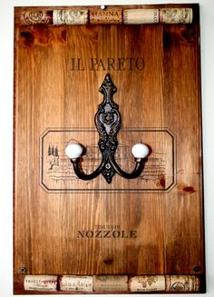 Wine box lid coat hook with cork accents. by VintageRebornLLC