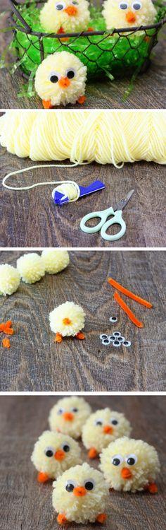 Pom Pom Chicks | Click Pic for 21 DIY Easter Party Favor Ideas for Teens | Handmade Spring Gift Ideas for Kids