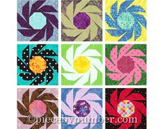Swiss Daisy flower quilt block pattern by PieceByNumberQuilts, $3.50