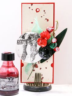 Glimmer Glaze red = handmade gift cards