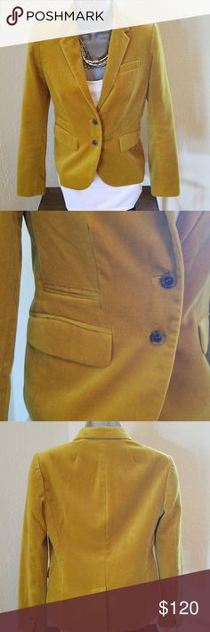 J. CREW SCHOOLBOY PLUSH VELVET BLAZER All-time favorites chicer fit yellow, mustard blazer with details throughout- secret interior small pocket for carrying little extras like lipstick- 100% Cotton  *Body length- 22 1/2 inches, hits at good *Sleeve length- 22 1/2 inches, sleeve vents with functional buttons at cuffs *Lapel collar *2 Button Closure *Back Vent *Chest welt pocket on left side *2 flap welt pockets with right side having welt pocket above flap pocket *Cream color lining…