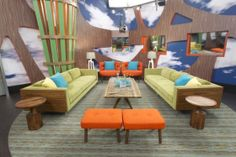 Big Brother 16 – Living room, love the couches and the tables Big Brother Hoh, Brother Usa, Big Brother Pictures, House Seasons, Usa House, Interior Architecture, Outdoor Furniture Sets, Family Room, Living Room