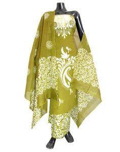 Cotton Batik Print Salwar Suit-Mehendi Green