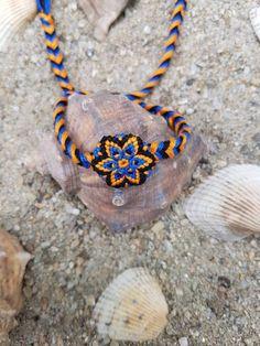 Bratara prieteniei handmade Kiko Mandala 5 (friendship bracelet innodata impletita colorata multicolora noduri boho bohemian hippie hippy gypsy floare stea portocaliu albastru) Mai multe Bijuterii in magazinul KikoMagicalCreations pe Breslo.
