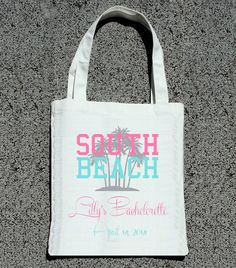 Miami South Beach Custom Bachelorette Party Totes- Wedding Welcome Tote Bag from ilulily on Etsy. Saved to Wedding Tote Bags. Beach Bachelorette, Bachlorette Party, Wedding Welcome Bags, Canvas Tote Bags, Canvas Totes, Tequila, Cabo, Bridesmaid Gifts, Bridesmaid Dresses