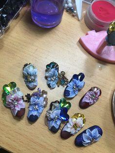 3d Acrylic Nails, 3d Nail Art, 3d Nails, Nail Manicure, Nail Arts, Stone Nail Art, 3d Nail Designs, Acrylic Flowers, Glue On Nails