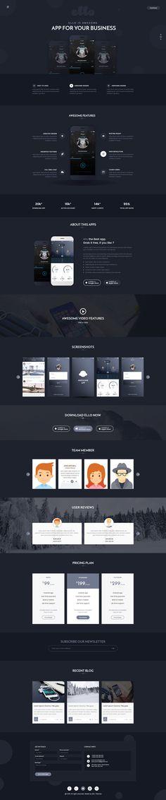 ELLO - Multipurpose App Landing PSD Template #web design #app #portfolio • Download ➝ https://themeforest.net/item/ello-multipurpose-app-landing-psd-template/18601862?ref=pxcr