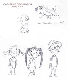 "Character Sketches for ""Not a Giggle Story"" author Elsa Takaoka, illustrator Catherine Toenisson"