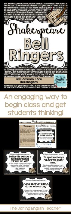 Begin class with these common core aligned Shakespeare bell ringers.